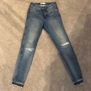 """Madewell size 25 9"""" high rise skinny jeans"""